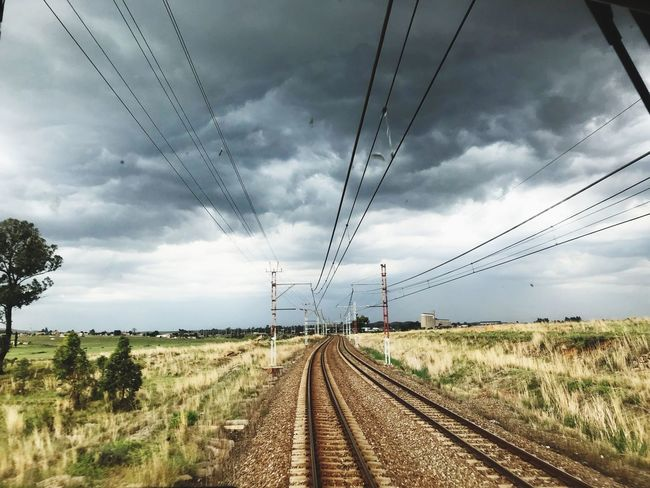 Railroad Track Cable Cloud - Sky When Rain Clouds Gather The Way Forward