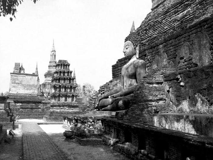 Serenity - Sukothai Thailand Temple Travel Photography Blackandwhite Serenity