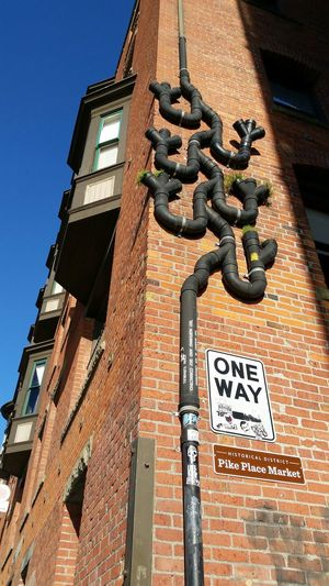 Seattle Postalley City Life Streetphotography Street Photography Pipeline Look Up Old Buildings Nofilter