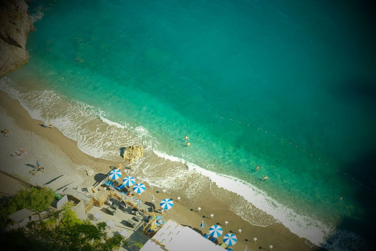 Aerial view of beach in summer with people