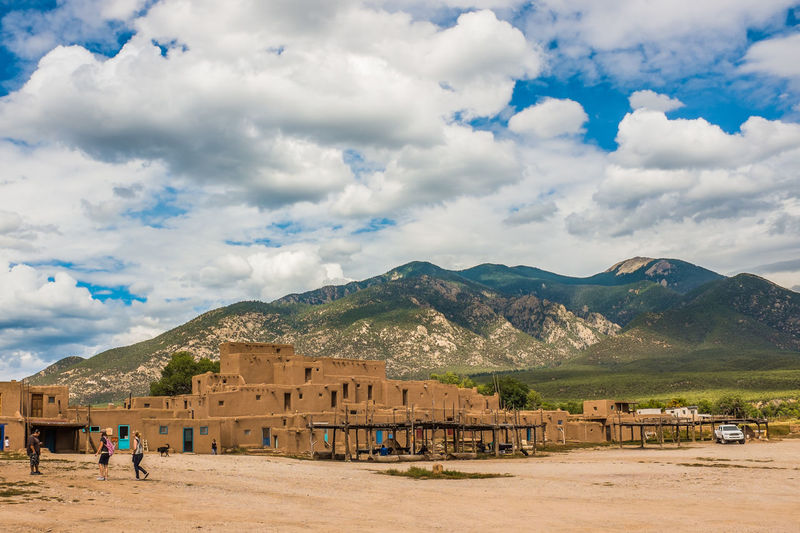 Adobe Architecture Cloud - Sky Cultures Day History Medieval Mountain Native Native American Native American Indian Outdoors People Sky Taos Taos New Mexico Taos Pueblo UNESCO World Heritage Site