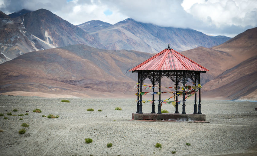 Gazebo in mountain landscape