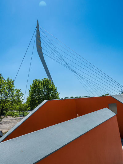 pedestrian bridge in Lahr The Architect - 2018 EyeEm Awards Architecture Blue Bridge Bridge - Man Made Structure Building Exterior Built Structure Cable Cable-stayed Bridge Clear Sky Connection Day Low Angle View No People Outdoors Sky Suspension Bridge