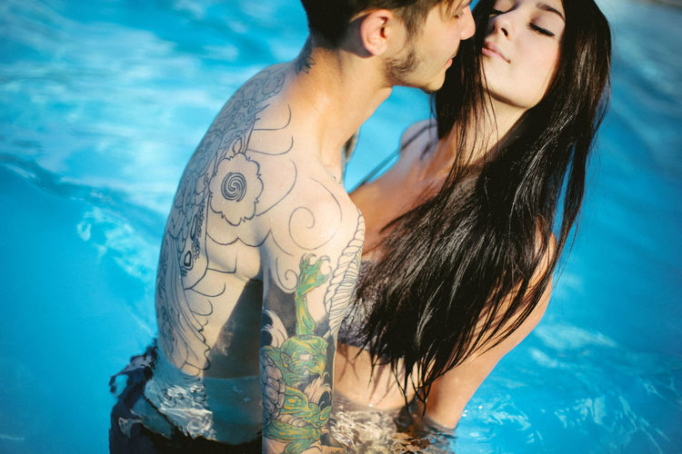 Beauty Black Hair Blue Boy Boyfriend Couple Day Girl Lifestyles Long Hair Love Lovers Outdoors Pool Pool Time Poolside Portrait Swim Swimming Swimming Pool Tattoo Tattooed Tattoomodels Tattoos Young Women