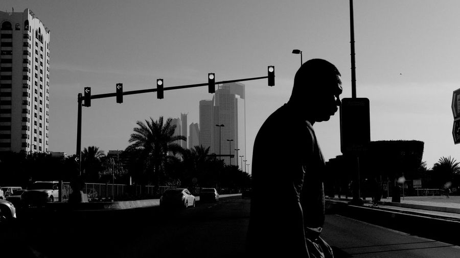 Silhouette One Person One Man Only Only Men People Standing Adult Outdoors Sky Real People Men Day Young Adult City Street Photography City Life EyeEmNewHere Architecture Abu Dhabi Tranquility Adults Only