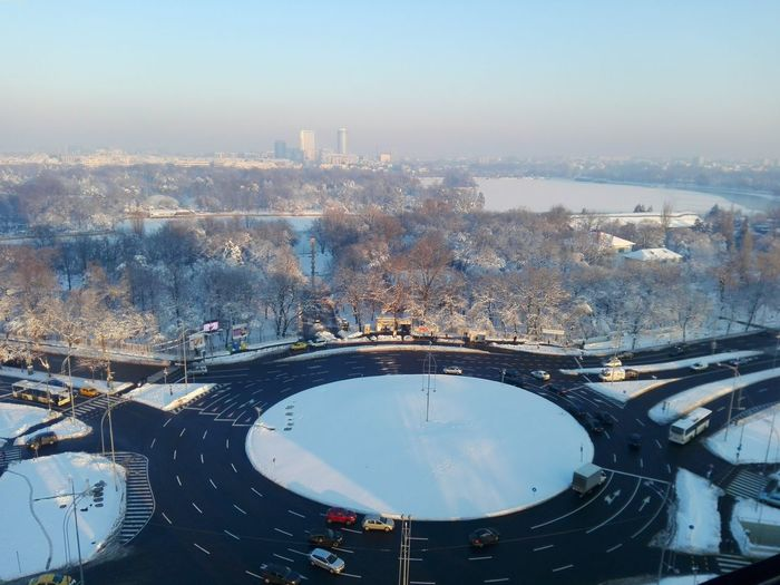 High Angle View Of Traffic Circle During Winter
