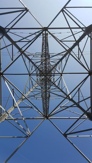Above Abstract Below Blue Connection Construction Frame Electricity  Electricity Pylon Engineering Fuel And Power Generation Looking Up Pattern Power Supply Sky Steel Symmetry Tangle Technology Tower The Week On EyeEm