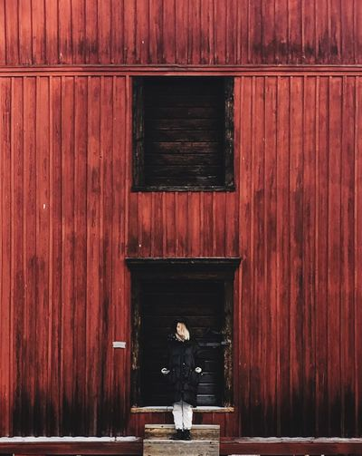 Wood - Material Built Structure No People Architecture Building Exterior Entrance Door Day Building Outdoors House Pattern Full Frame Red Wood Wall - Building Feature Winter