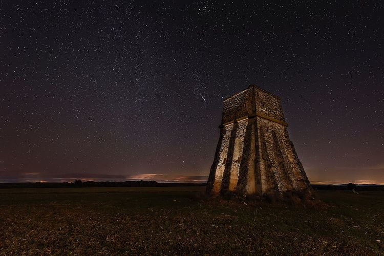 Tower Abandoned Places Abandoned Night Star - Space Astronomy Constellation Star Field Landscape Field Galaxy No People Outdoors Architecture Sky EyeEmNewHere