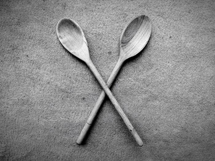 High Angle View Of Two Wooden Spoons