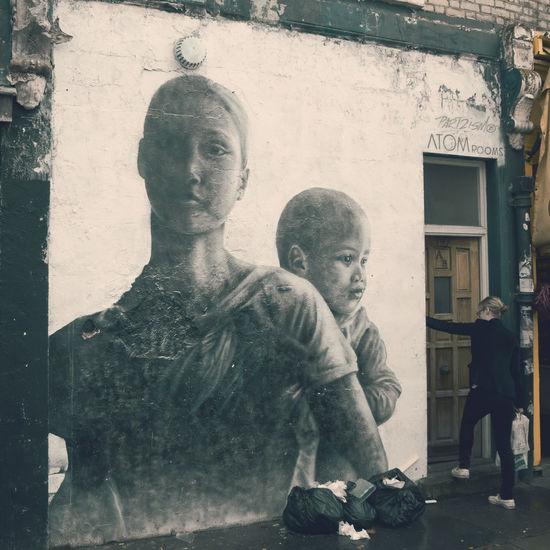 EyeEm LOST IN London Junk London Wall Building Exterior Day Dirty Place Female Girl Graffiti Art Human Representation Real People Woman Portrait