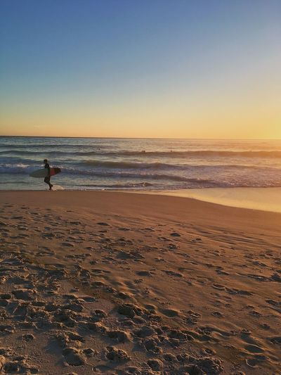 Surfer in Cape Town. Beach Beauty In Nature Clear Sky Day Full Length Horizon Over Water Leisure Activity Men Nature One Man Only One Person Outdoors Real People Sand Scenics Sea Shore Sky Sunset Surfer Tranquil Scene Tranquility Vacations Water Wave