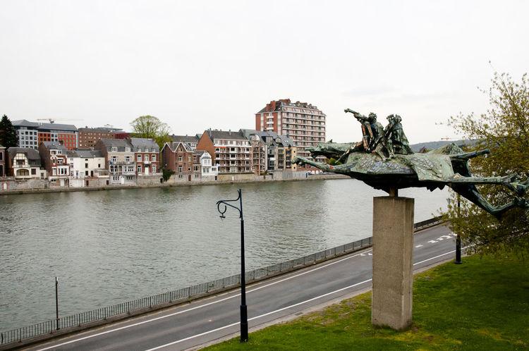 Meuse River Belgium Meuse River Namur Statue City Horse Meuse