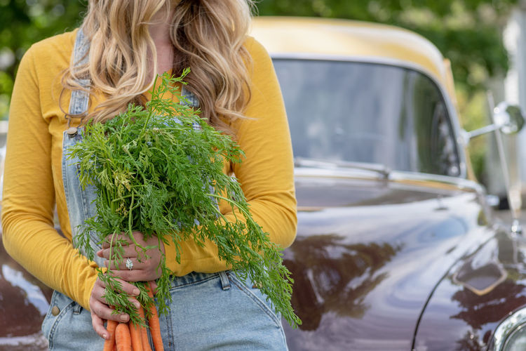 Midsection of woman holding plants in car