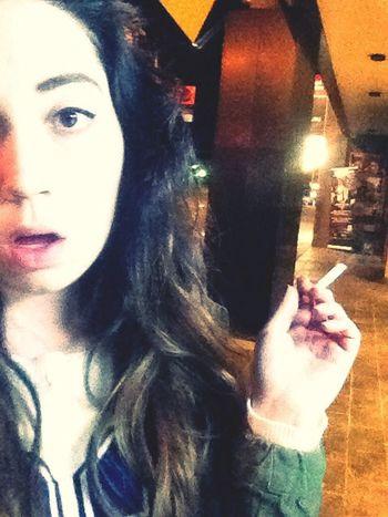 Got a lil bit drunk last night Cigarettes Smoke Selfie Girl