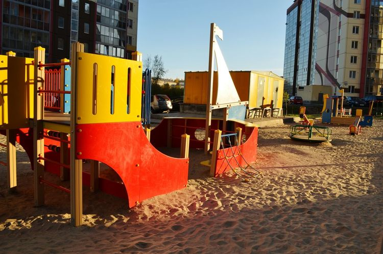 Architecture Building Exterior Built Structure Beach Sand Outdoors Day Red Development Construction Machinery Sky Modern Vibrant Color Sunny Autumn🍁🍁🍁 Syberia Children's Playground