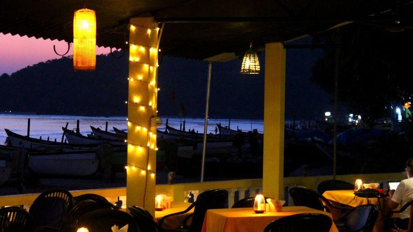 Goa Palolem Beach Beach Resort View Beach Bar Beach Outdoors Illuminated Night Silhouette Travel Destinations