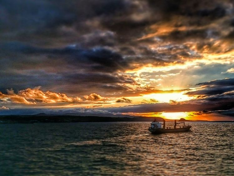Sunset Water Sea Sky Ocean Dramatic Sky Cloud Transportation Cloud - Sky