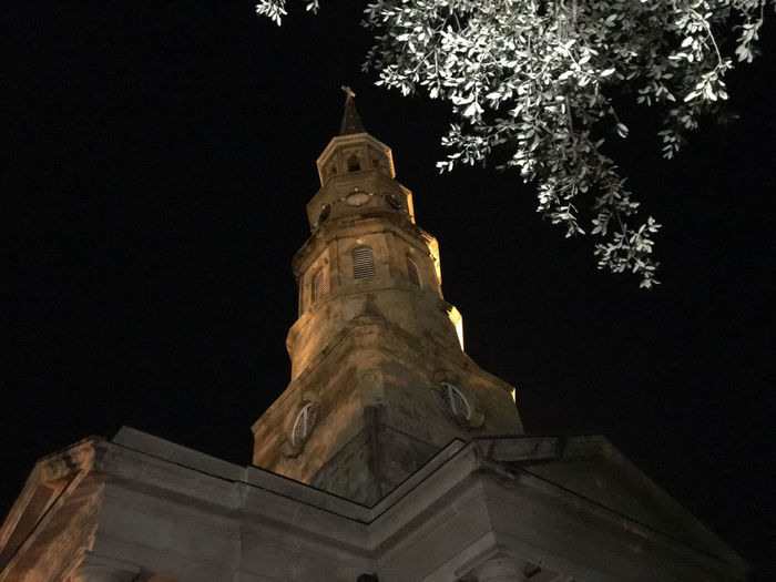 Architecture Building Exterior Church Clock Tower Cross History Low Angle View Night Photography Place Of Worship St. Phillips Charleston South Carolina Steeple Tower
