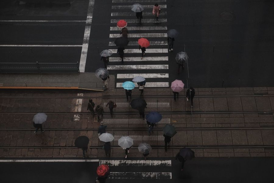 High Angle View Day Outdoors City People Japan Street Photography Rain