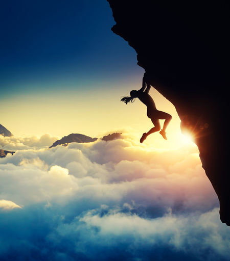 Adult Adults Only Adventure Challenge Courage Danger Determination Extreme Sports Freedom Healthy Lifestyle Inspiration Motivation Mountain Climbing Mountain Range Nature One Person Outdoors Rock Climbing Scenics Silhouette Sky Sport Strength Sunset Trust