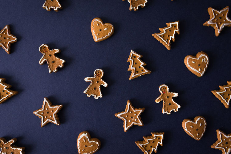 High Angle View Of Gingerbread Cookies On Table