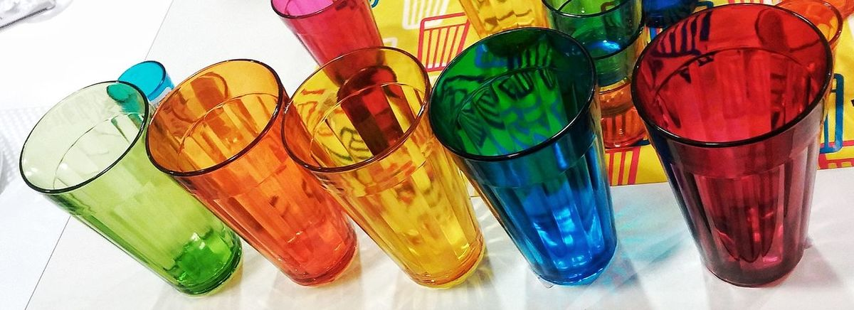Multi Colored Green Color Close-up Cups Colorful Blue Yellow Orange Color