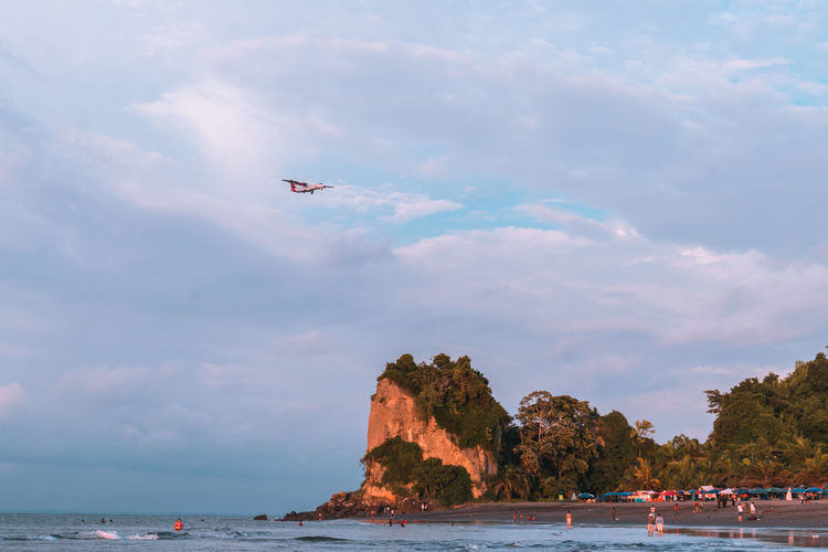 Low angle view of airplane flying over beach