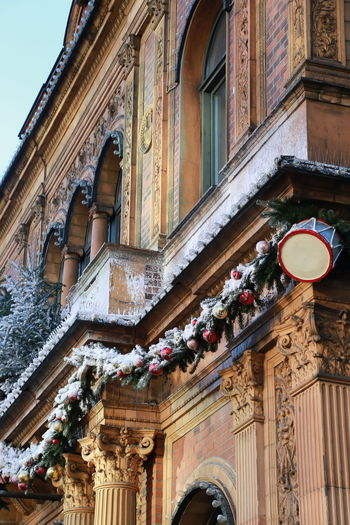 Christmas Tivoli Denmark Winter Architectural Column Architecture Building Exterior Built Structure Christmas Decoration Christmas Ornament City Day Facades History Low Angle View No People Outdoors Outside Snow Steps