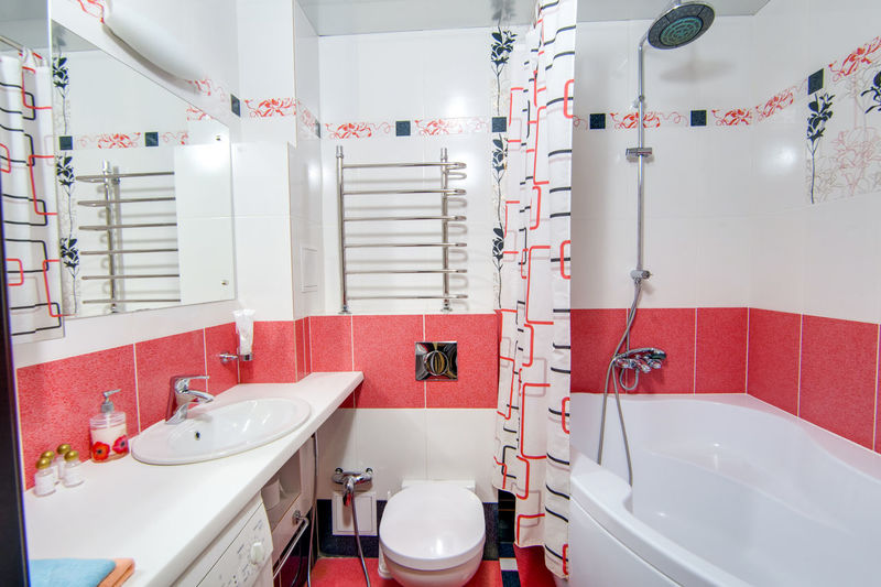 Bathroom Sink Indoors  Domestic Bathroom Hygiene Red Mirror Domestic Room Household Equipment No People Absence White Color Tile Home Modern Faucet Empty Flooring Bathroom Sink Reflection