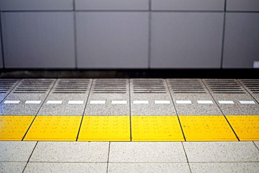 Yellow Tiled Floor Tile Transportation No People Railroad Station Platform Communication Indoors  Day Close-up Stop Wait Train LINE Keep Out Japan Photography Japan Station