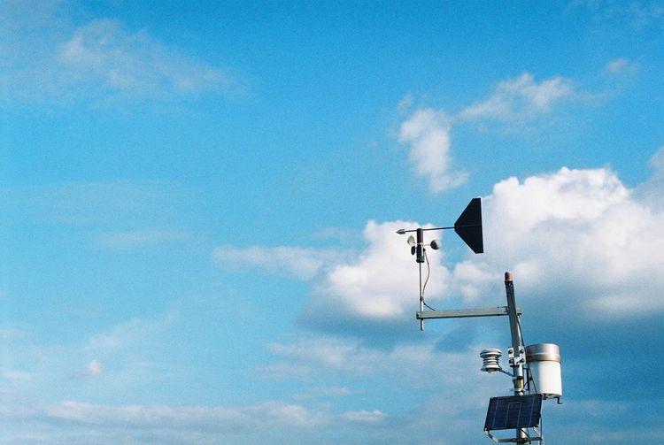 apparatus for check acceleration of wind EyeEmNewHere Blue Cloud - Sky Communication Control Day Lighting Equipment Low Angle View Nature No People Outdoors Safety Security Security Camera Signal Sky Street Street Light Sunlight Surveillance Technology