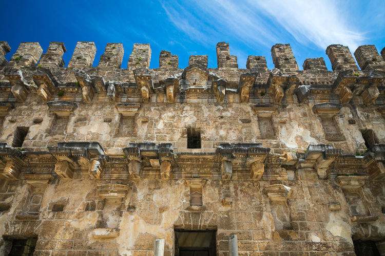 Roman amphitheater of aspendos ancient city near antalya, turkey. an antique ruined city