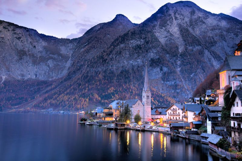 Architecture Austria Beauty In Nature Built Structure Day Hallstatt Idyllic Lake Mountain Mountain Range Nature No People Outdoors Reflection Residential District Residential Structure Scenics Sky Town Tranquil Scene Tranquility Travel Water Waterfront Österreich