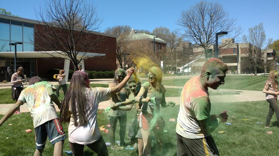 Holi - Festival of Colors! Bare Tree Built Structure Casual Clothing City City Life Colors Colorsplash Day Fun Grass Holi Holiday Lawn Leisure Activity Lifestyles Outdoors Sky Sunlight Tree