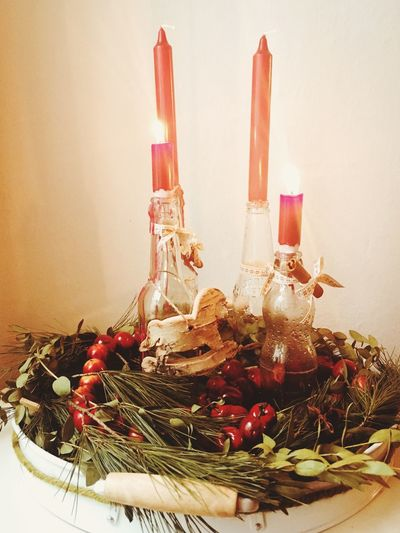 Spirit Of Christmas Spirituality Candles Home Interior Home Coziness Cozy X-mas X-mas Decoration Seasons Greetings Germany Decorative Selfmade DIY Bottles Of Beer German Tradition Adventskranz Advent X-mas Christmas Decoration Christmas Decoration Decoration Decoration White Background Indoors  No People Table Food And Drink Close-up Flower