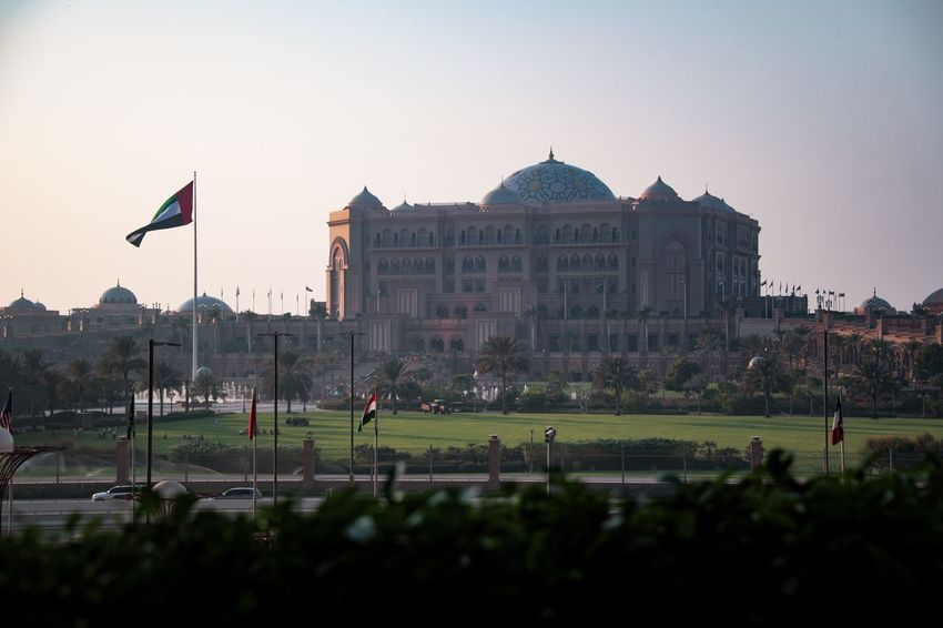 Evening Light Architecture Built Structure Dome Flag Government Outdoors Palace Hotel Patriotism The Past Tourism Travel Travel Destinations Tree