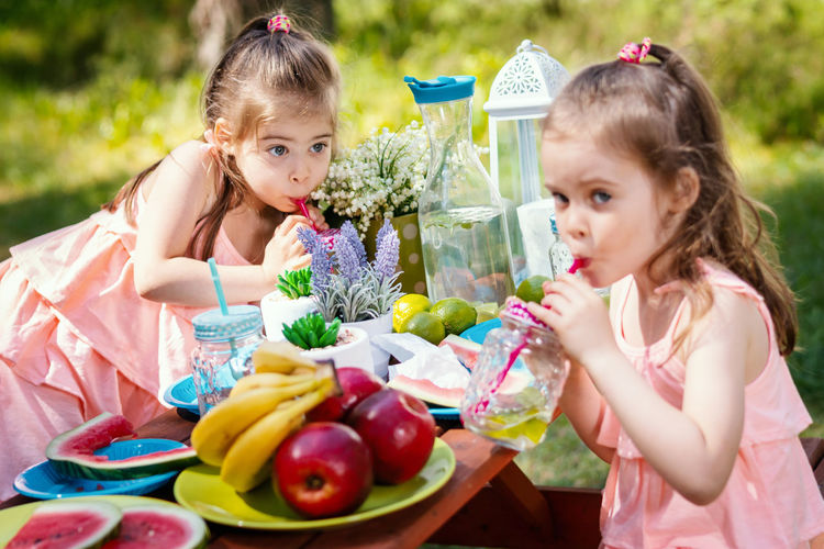 Picnic Picnic Table Fruit Summer Forest Girl Childhood Child Kid Sister Sisters Twins Females Girls Offspring Women Two People Holding Food Togetherness Food And Drink Healthy Eating Portrait Family Sibling Innocence Outdoors Hairstyle