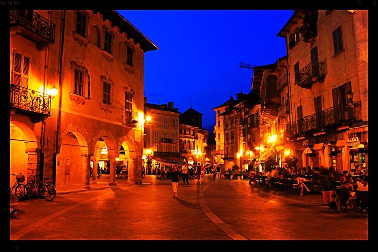 Domodossola Italy Sunset_collection Sunset Blue Sky Nighlife Night Lights Piazza Piemonte Traveling