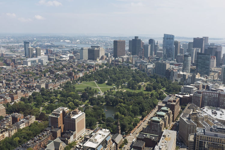 Boston from Above Boston Downtown Aerial View Architecture Boston Common Building Exterior Built Structure City Cityscape Day Downtown District Growth High Angle View Modern No People Outdoors Residential  Sea Sky Skyline Skyscraper Tall Tree Urban Skyline
