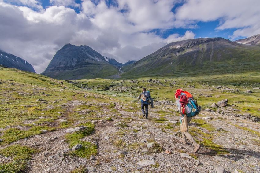 Water Lappland Mountain Beauty In Nature Two People Scenics Nature Hiking Sky Leisure Activity Outdoors Landscape Walking Mountain Range Fjallravenclassic Hiking Sweden Nature Lappland