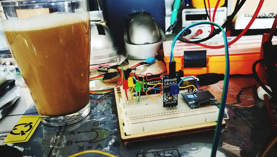 Coffee and hobby Indoors  No People Day Coffee Hot Drink Caffè Latte Close-up Drinking Glass Electrical Equipment Arduino Uno Hobbyist Led Lights  Breadboard
