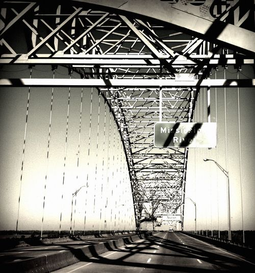 Bridges-- we need more bridges... Bridge Bridge - Man Made Structure Bridge Over Water Bnw Bnw_collection Blackandwhite The Week On EyeEm Light And Shadow No People Built Structure Day The Way Forward Make The Connection Road Steel Structure  Driving Infrastructure Mississippi  Mississippi River Bnw_friday_eyeemchallenge Bnw_shadows Be. Ready. Black And White Friday