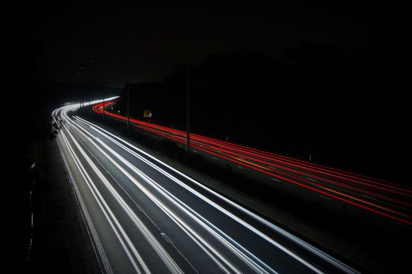 Too much cars on the road Night Light Trail Speed Transportation Illuminated Traffic Long Exposure Road Red Highway City Life Street Motion City No People Outdoors Sky