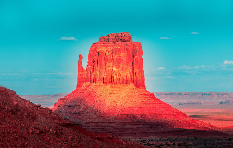 Monument valley edit in red and turquoise