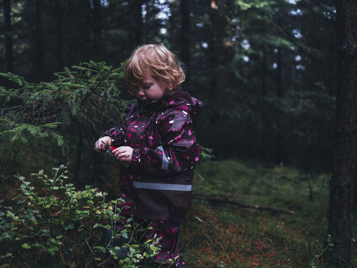 Rear view of boy standing by trees in forest