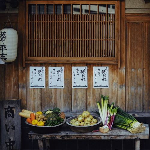 Vegetables for sale on wooden table