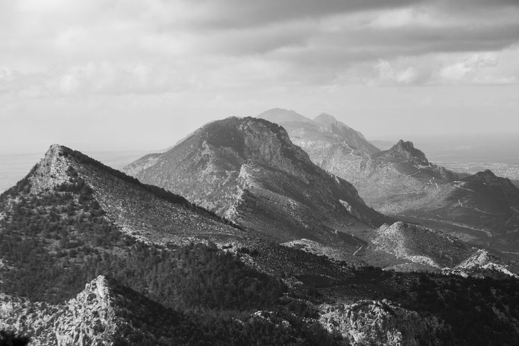 View in black and white of Kyrenia mountains Black And White Cyprus Kyrenia Landscape Mountain Mountain Range Nature No People