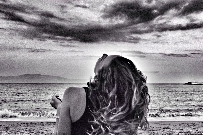 Blackandwhite Travel Horizon Over Water Sky Long Hair Nature Conceptual
