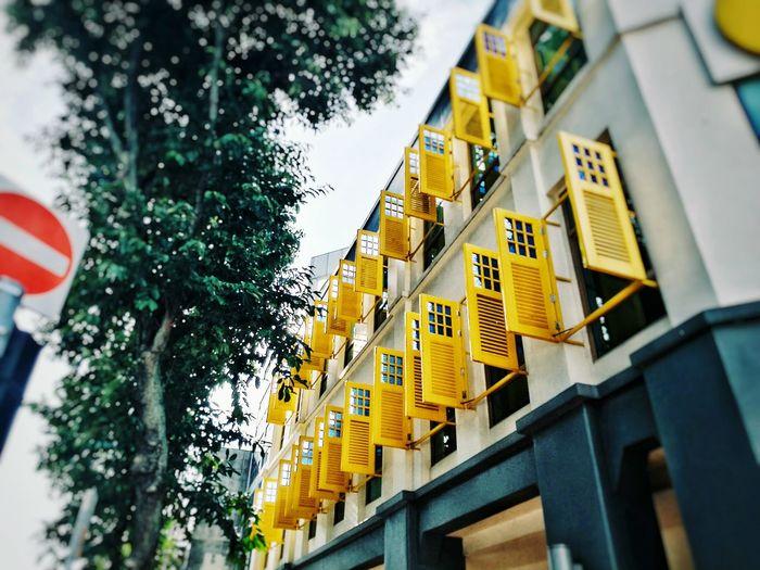 "Hidden Gems  ""People Everywhere Love Windows"" ~ Bill Gates... Somewhere close to the precinct of Chinatown, i spied rows of yellow windows.... Yellow Window Windows Windows_aroundtheworld Window Ihavethisthingwithwindows Windowsporn Building Exterior Singapore City Louvre Louvres The Week On EyeEm"